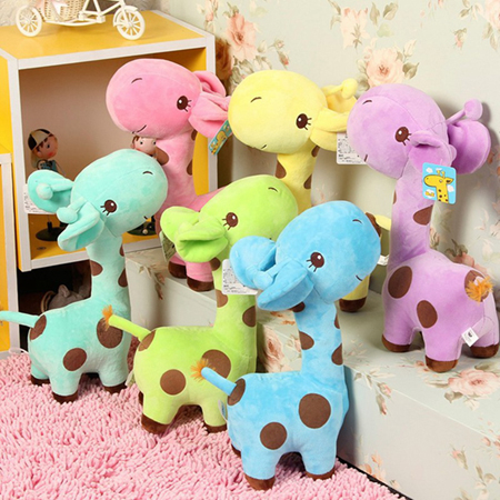New 1pcs Cute Gift Plush Giraffe Soft Toy Candy color Animal Dear Doll Baby Kid Child Birthday Happy Colorful(China (Mainland))