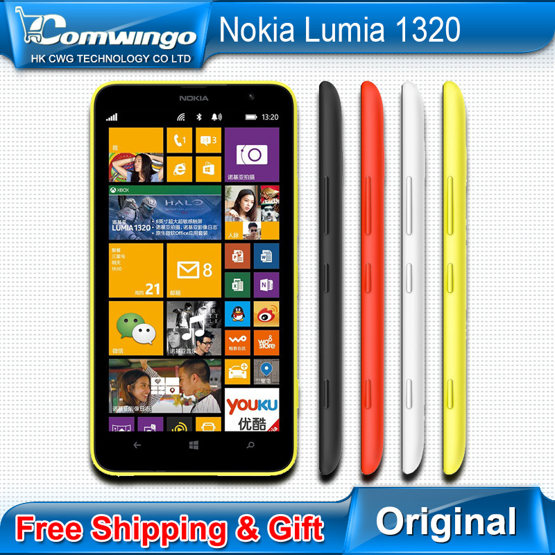 Original nokia lumia 1320 mobile phone 1GB RAM 8GB ROM color White Black orange yellow Camera 5MP Wifi GPS Bluetooth cell phone(China (Mainland))