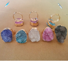 M78002 New Agate Natural Stone Bezel Druzy Ring Vintage Brand Drusy Rings For Women P7D1A