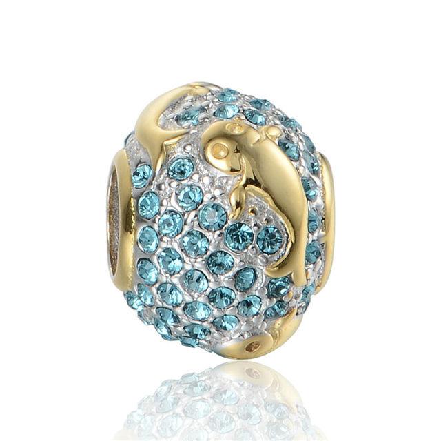 925 - серебристо-ювелирные бусины E034 золотая рыбка кристалл шарм бусины Fit Chamilia пандора браслет серебро 925 ювелирных изделий DIY