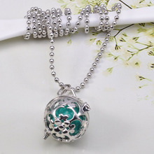 Wholesale Rhodium Color  Mexico Harmony Sound Ball Locket Chime Pendant Necklace Set For Lover's Gift 10pcs(China (Mainland))