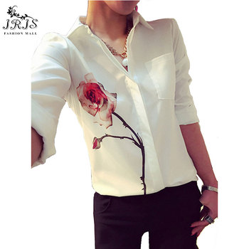 Spring Rose Flower Printed Long Sleeve Blouse Women Turn Down Collar Chiffon Shirts White Big Size Women Clothes