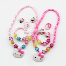 Hot Kids Baby Girls Jewelry Imitation Pearl Beads Hello Kitty Necklace/Bracelet/Ring/Earrings Lovely Children Set Gift TZ41(China (Mainland))