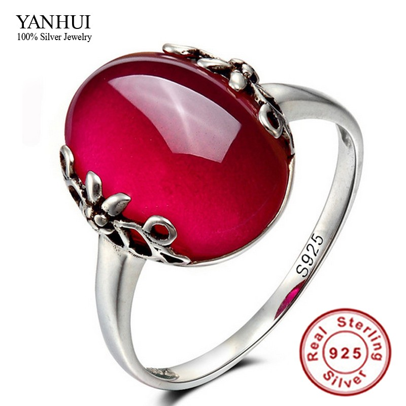 2016 Latest Design Fashion 925 Sterling Silver Opening Ring Set Natural Red Jade Ruby Adjustable Size Rings for Women JZR039(China (Mainland))