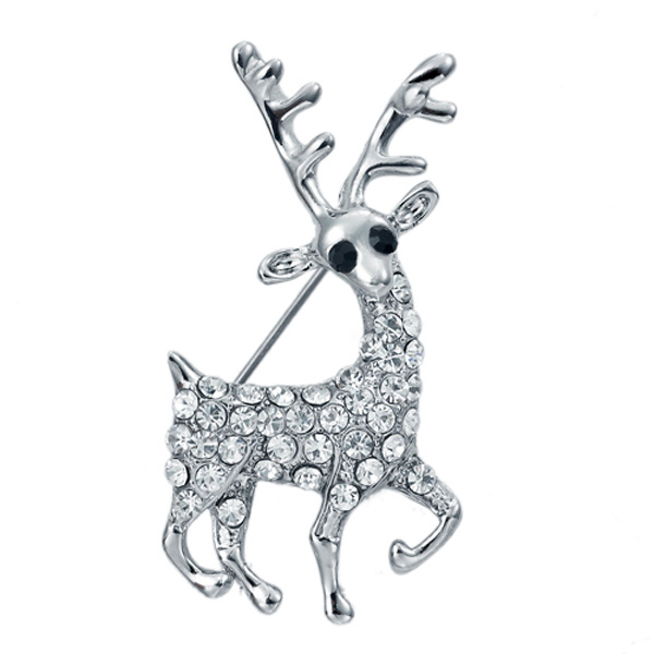 VOGEM Christmas Theme Cute Deer Brooch Pins White Gold Plated Luxury Austrian Crystal Fashion Brooches Online Shopping India(China (Mainland))