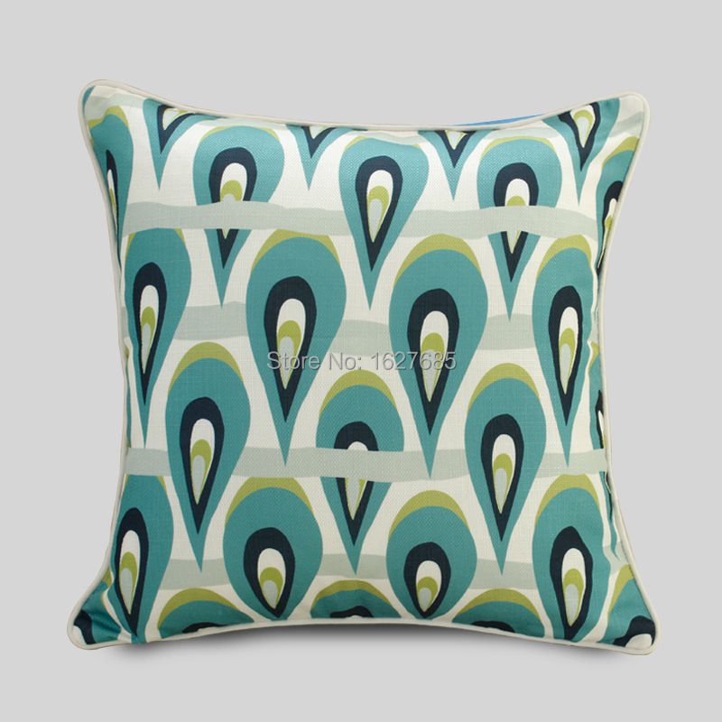 2015 New Design Peacock Feathers Printing Europe Style Cushion Cover Free Shipping KP14-0040(China (Mainland))