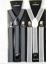 2015 Fashion  Black And White Striped Suspenders Elastic Y-back 2.5cm Width Adjustable Clips On Women/Men Braces Free Shipping(China (Mainland))