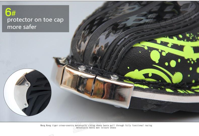 Hongkong Tiger Racing size 6-13 Waterproof Men SN202 microfiber leather MId-calf botte moto Dirt Bike Motorcycle Motocross boots