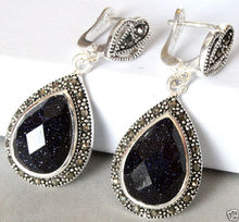 925 Sterling Silver Jewelry Natural Blue Sand Stone Marcasite Drop Earrings(China (Mainland))