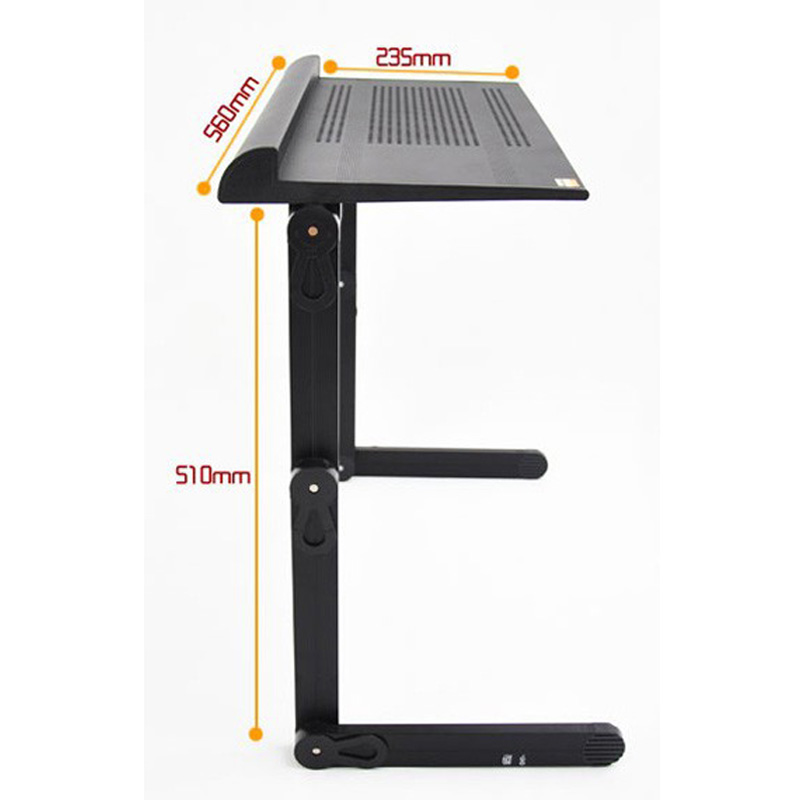 Modern design adjustable portable folding laptop table with super big fan and mouse pad black color(China (Mainland))