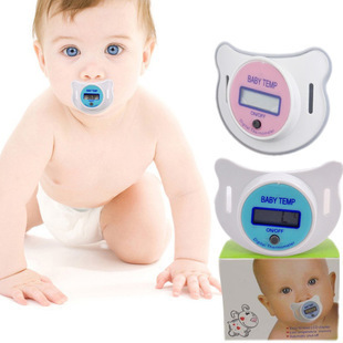 Pacifier thermometer baby thermometer LCD temperature display thermostat pacifier pacify meter free shipping(China (Mainland))