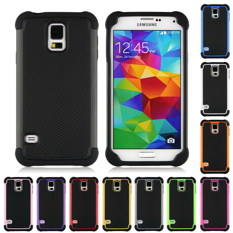 Luxury Cool Armor 3D Shockproof Anti-Slip Texture TPU PC Silicone Phone Case For Samsung Galaxy S5 S 5 V I9600 9600 Back Cover(China (Mainland))