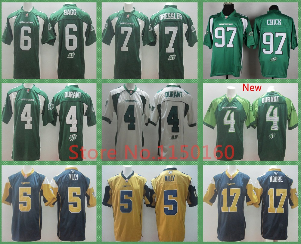 4 Darian Durant Jersey Saskatchewan Roughriders Rob Bagg CFL Weston Dressler Chick Jersey Drew Willy Football Nick Moore Jersey(China (Mainland))