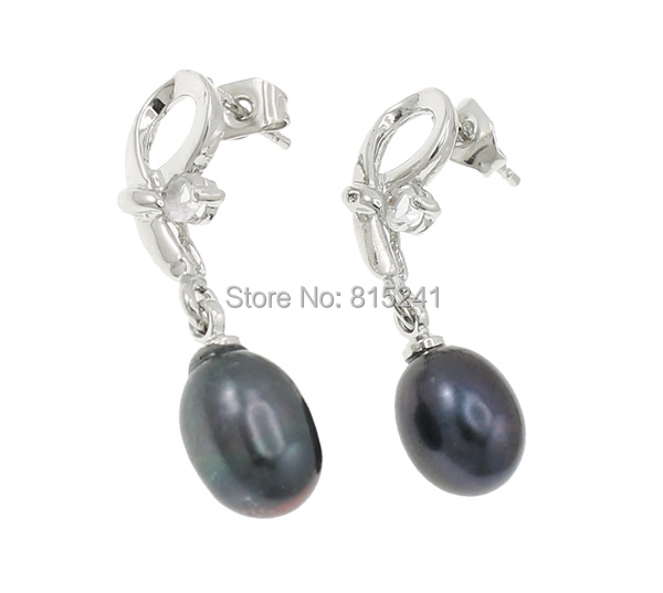 Free shipping!!!Freshwater Pearl Earrings,Jewelry Blanks, with Rhinestone, brass post pin, natural, platinum color, 11x30mm(China (Mainland))
