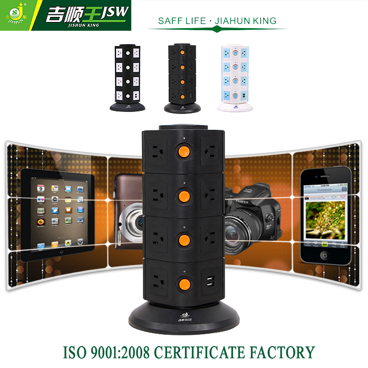 4 Layer American Electrical Outlets Vertical Extension Socket with Individual Switch Overload Protector AC 110-250V 2500W MAX<br><br>Aliexpress