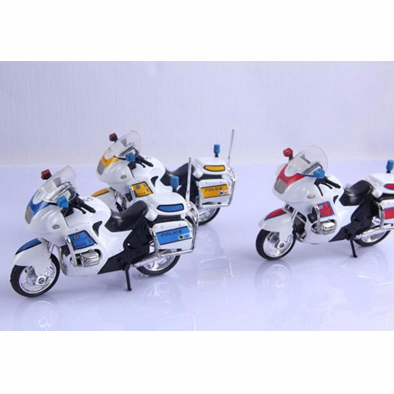Metal Alloy Police Motorcycle Model Toy DIY Educational Motor Mini Toys Birthday Christmas Gift For Children Kids