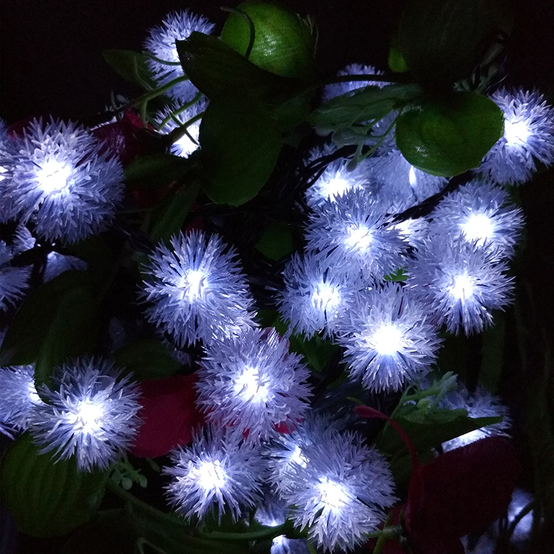 Solar Christmas Holiday Snow Flakes LED String Lights DIY Winter Snowball Outdoor Waterproof Party Decor. Lightings 7m 50leds(China (Mainland))