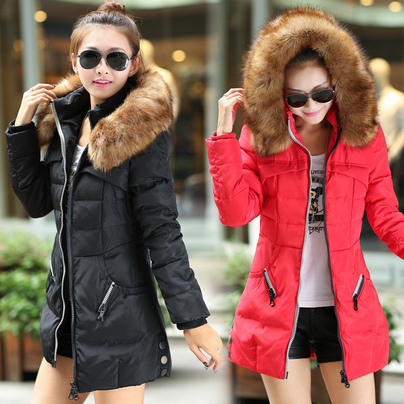 Hooded wadded jacket female 2015 women's winter jacket down cotton jacket slim parkas ladies coat plus size M-XXL