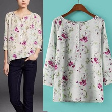 2016 women's Elegant Floral Print Blouses Vintage Back Opening Fork Shirt O Neck Casual Women Fashion Tops