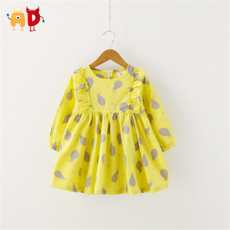 Ad 2 7y cute ruffled girls dress pear pattern cool fabric for Childrens dress fabric