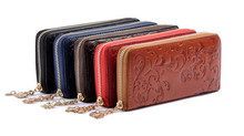 New Fashion Women Purse Genuine Leather Bag Wallet For Women Brand Designer Flower Vintage Wallet Zpper