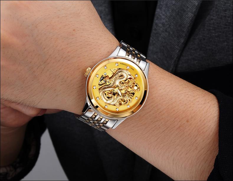 AESOP Switzerland watch women luxury brand skeleton automatic self-wind diamond luminous China Phoenix golden relogio masculino