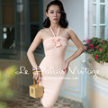 FREE SHIPPING Le Palais Vintage 2016 Summer New Arrival Sexy Pink Sleeveless Strapless High Waist Slim