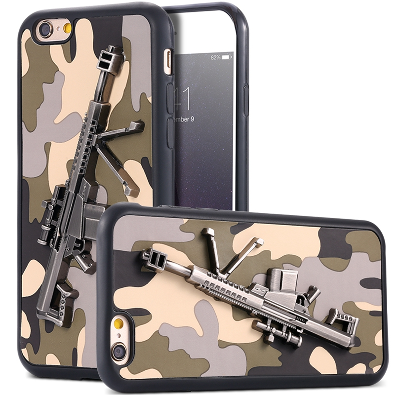 I6 6S Bag Art Print 3D Camouflage Pistol Sniper Army Case For Apple iPhone 6 6S Cool Ultra Thin Metal Gun Soft Hybrid Back Cover(China (Mainland))