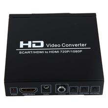 1 x SCART/ HDMI to HDMI Video Converter Box 1080P Scaler 3.5mm Coaxial Audio UK Plug AH034(China (Mainland))
