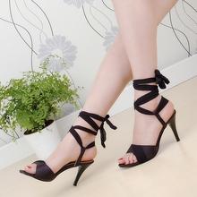 ARMOIRE Summer Hot Sales Women Sandals Red Black Beige Blue Ladies Sexy High Heel Shoes Cross Tied AHS-2 Plus Big Size 31 43