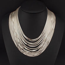 Women Multi layers Chain Necklaces Fashion Accessories Female Choker Necklace Maxi Statement Jewelry Gold Silver Colors