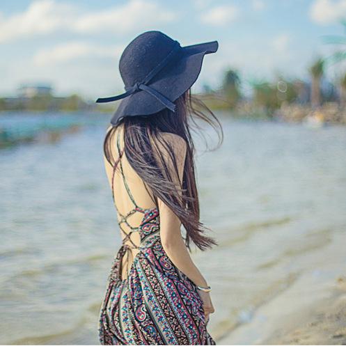 2016 New Women Fashion Bohemian Summer Print Dress Hollow Out Beach Dress Lady's Low Cut Back Design(China (Mainland))