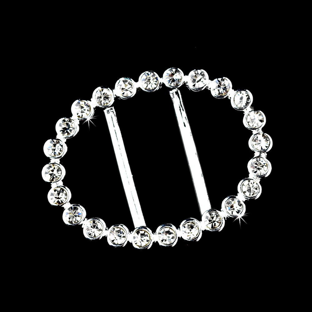 "1.75"" Oval Shaped Rhinestone Crystal Buckle Ribbon Slider For Wedding Supplies 12pcs/Lot(China (Mainland))"