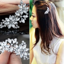 Buy 2 PCS Women's Bride's Bridesmaid's Rhinestone Flower Crystal Hair Clip Comb mariage Hair Jewelry Accessories for $1.33 in AliExpress store