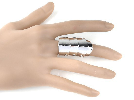1 Pcs Fashion Punk Gothic Silver Joint Hinged Full Finger Knuckle Armor Double Finger Ring(China (Mainland))