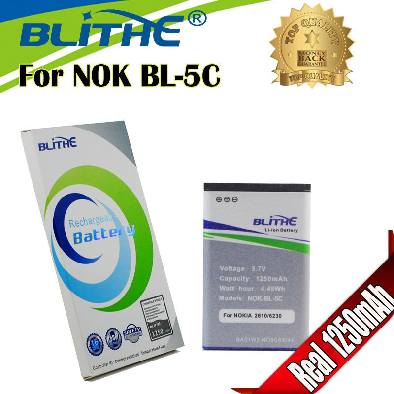 Blithe Top NOK-BL-5C BL 5C BL-5C Real 1250mAh Battery For Nokia 1100 3100 6600 6230 C2-06 C2-00 X2-01(Hong Kong)