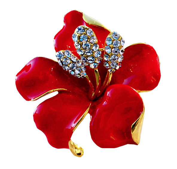 Free Shipping 2015 Red roses decorated costume rhinestone brooch pins hijab safety wedding bouquet Ms. variety of accessories(China (Mainland))