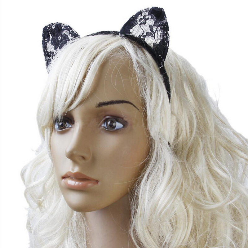 Lace Cat Ears Hairband Fancy Dress Cosplay Costume Kawaii Halloween Headband(China (Mainland))