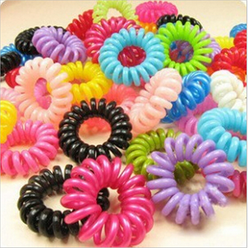 2015 New 10pcs/lot Telephone Cord Elastic Ponytail Holders Hair Ring Scrunchies For Girl Rubber Band Tie(China (Mainland))