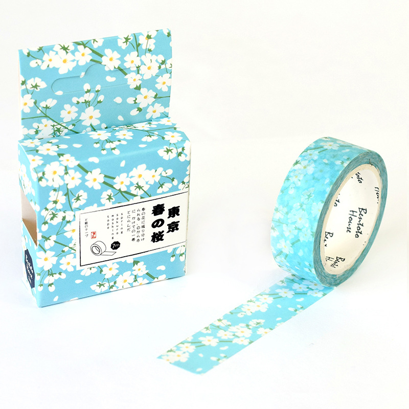 20 pcs/lot DIY Washi Masking Tapes Spring cherry Decoration Adhesive Tapes scrapbooking stickers Cute Stationary Size 15 mm*7m