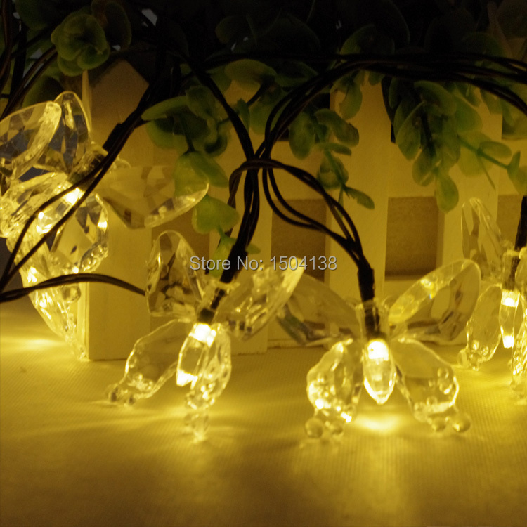 Solar Powered 20Led Butterfly light Christmas holiday Light outdoor party Lamp solar led string Light for garden decoration