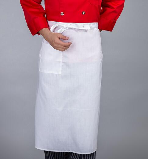 FreeshippingNew white half apron chef cotton pure apron for restaurant kichen apron women and men(China (Mainland))