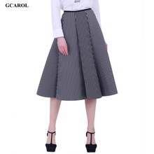 Women New Black And White Vertical Striped Long Skirt Space Cotton Fashion OL Ball Gown Umbrella Skirt(China (Mainland))