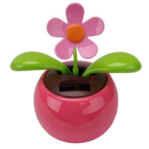 PHFU Car Rose-red Cute Flip Flap Swing Solar Flower(China (Mainland))