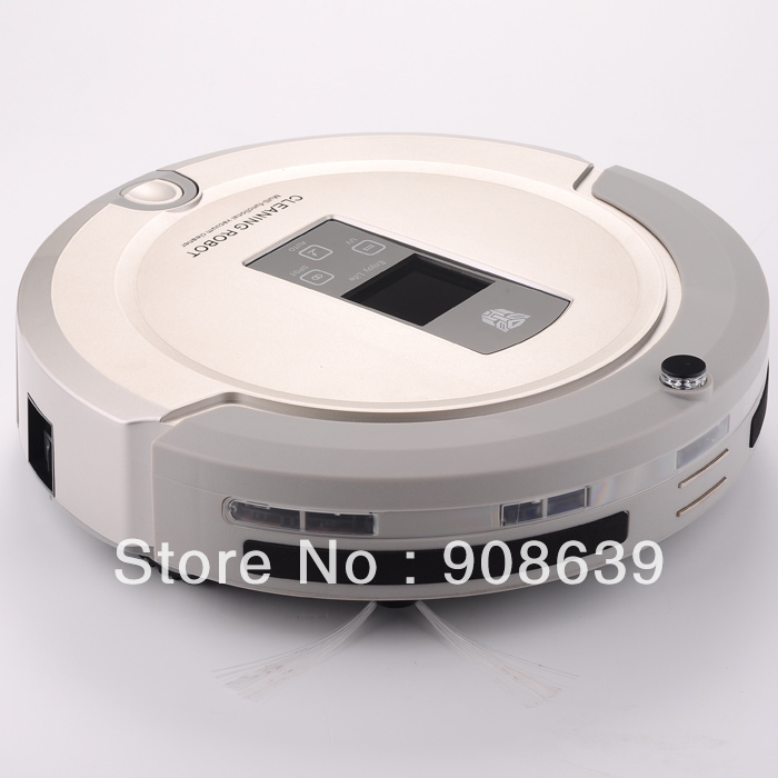 Free shipping 2013 New Coming 4 IN 1 robot vacuum cleaner aspiradora With Clean Time Setting,Auto Recharged, LCD,UV lights(China (Mainland))