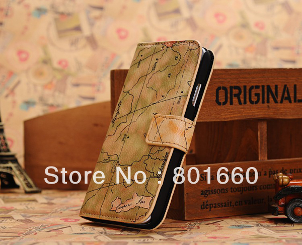 Free Shipping 100pcs/lot World Map Style PU Leather With Credit Card Slot Flip Stand Cover Case For Samsung Galaxy S IV S4 I9500