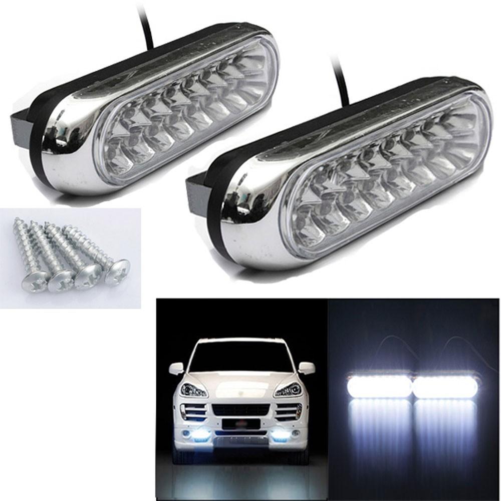 Tiptop NEW 2x Universal 16 LED Car Van DRL Day Driving Daytime Running Fog White Light Lamp Free Shipping L616(China (Mainland))
