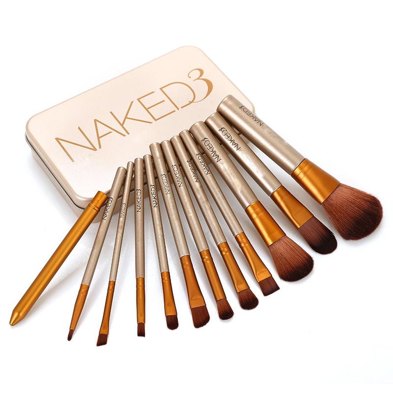 Power NAKED3 makeup brushes 12pcs/set nake 3 Professional make up brush sets eye shadow maquiagem maquillaje Iron original box(China (Mainland))