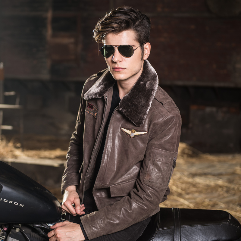 Мужская натуральной кожи куртка свиной ВВС куртки мотоцикла натуральной кожи Авиатор куртки Мужские кожаные пальто бомбардировщик куртка