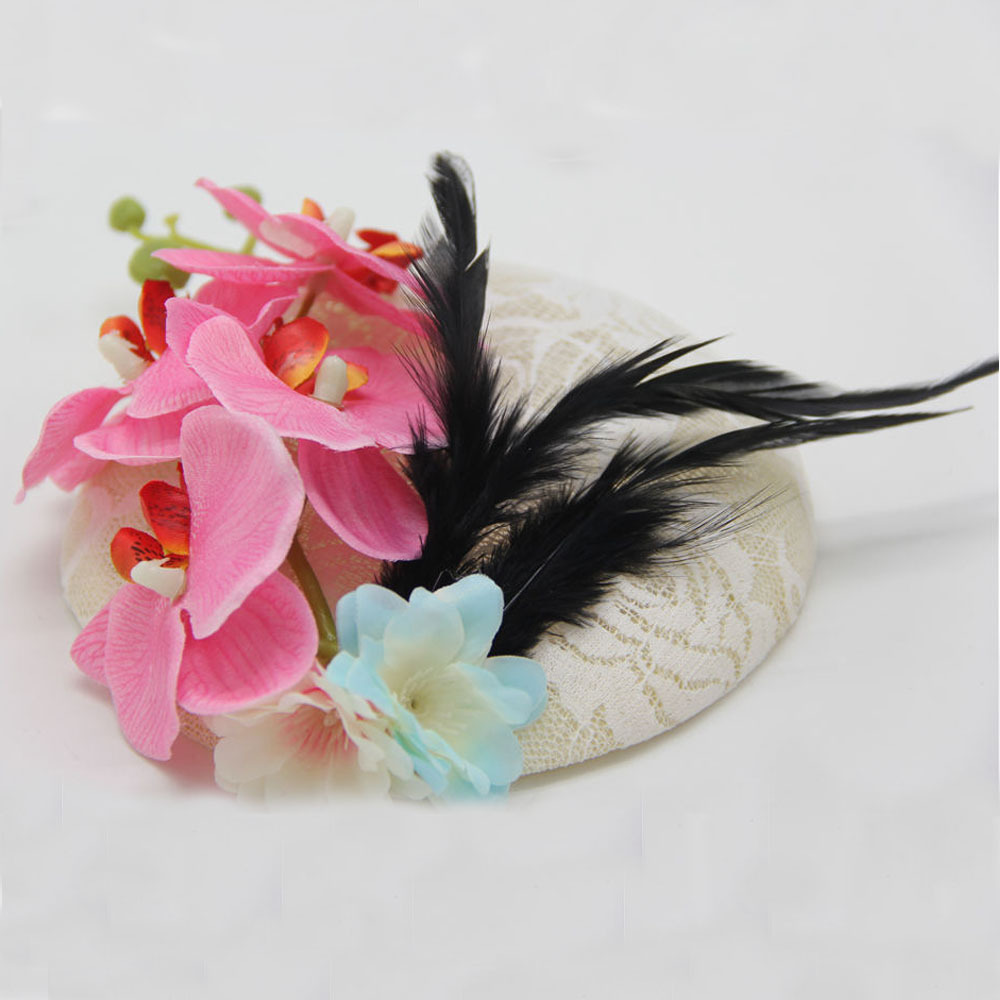 2016 Butterfly Flower Lace Sinamay Hat 15CM Bridal Feather Fascinator Hair Clip Handmade Women Wedding Top Hat Hair Accessories(China (Mainland))